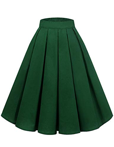 Bridesmay Women's Vintage Pleated Skirt Floral Printed A-line Swing Skirt with Pockets Dark Green XS ()