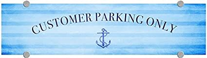 CGSignLab Nautical Stripes Premium Brushed Aluminum Sign Customer Parking Only 24x6 5-Pack