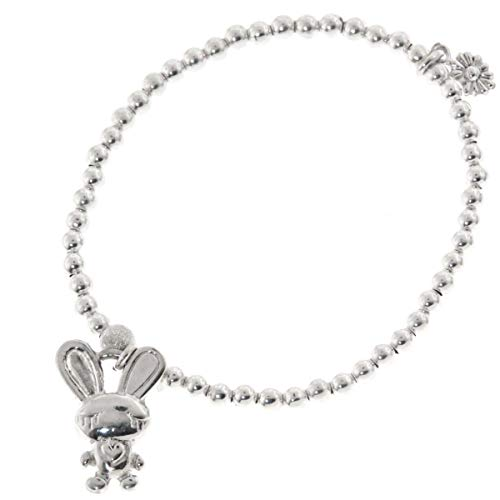 FIFIROSE Kids 5.5'' Rabbit Bunny Charm Italian Beads 925 Sterling Silver Bracelet YE-1109