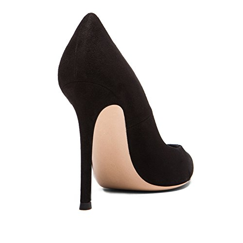 100mm Prom Pumps Fashion Suede Shoes Party Elegant EDEFS Chocolate Womens Black Heel Basic High Handmade Office 8qIFF4