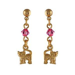 So Chic Bijoux © Boucles d'oreilles Pendant Enfant Chat Perle Rose Plaqué Or 750