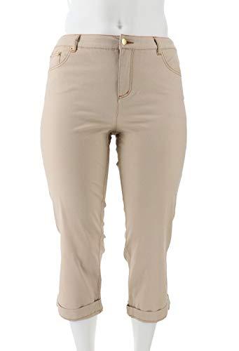 Liz Claiborne Classic Casual NY Petite Jackie Cuffed Pants Khaki 20P New -