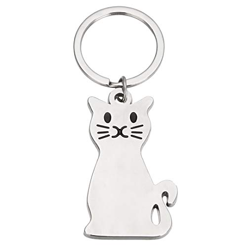Mayitr 1pc Silver Cat Key Chain Key Ring Cute