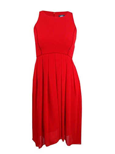 Vince Dress Pleated (Vince Camuto Women's Hi-Low Pleated Sheath Dress Red 8)