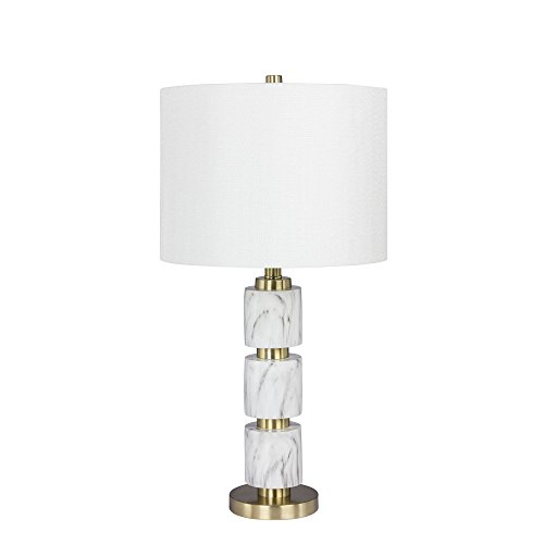 Martin Richard W-6237WHT Fangio Lighting's #6237WHT 27 in. Stacked, Smooth Resin and Metal Table Lamp in a White Faux Marble Finish, 27.00, White Faux Marble with Satin Brass (Lamp Richard Metal Table)