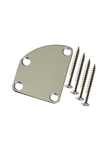 Electric Guitar Curved Cutaway Semi Round Neck Joint Back Mounting Plate for Fender Stratocaster Telecaster Guitar or Bass 4 Holes with Screws Pack of 1Set (Chrome)