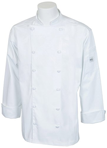 Mercer Culinary M62030WHL Renaissance Men's Traditional Neck Chef Jacket, Large,