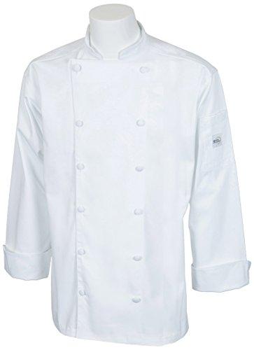 Mercer Culinary M62030WHM Renaissance Men's Traditional Neck Chef Jacket, Medium, White