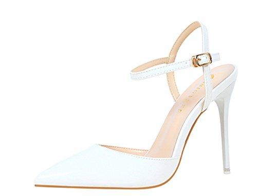 Manyis Fashion New Mujeres Punta Estrecha Stilettos Zapatos De Boda Tobillo Strapes Sandalias De Tacón Alto Zapatos De Fiesta De Las Señoras Blanco Us7