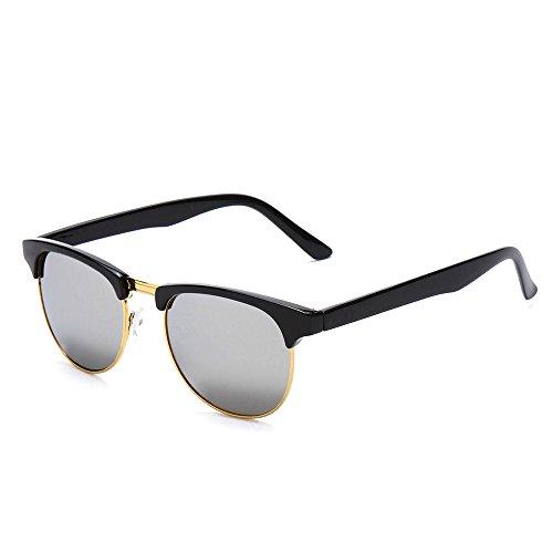 P5 Premium Urban Wayfarer Half Frame Thin Rim Style Sunglasses (Slate Silver)
