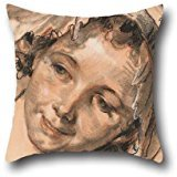 Throw Pillow Case 18 X 18 Inches / 45 By 45 Cm(each Side) Nice Choice For Kids Girls,coffee House,seat,couch,adults,club Oil Painting Jean-Baptiste Greuze - Head Of Smiling Girl, C. 1765 ()