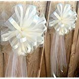 White Tulle Ceremony Wedding Pull Bows for Church Pews - 9