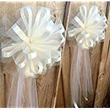 (White Tulle Ceremony Wedding Pull Bows for Church Pews - 9