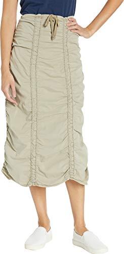 (XCVI Women's Stretch Poplin Double Shirred Panel Skirt Fennel Pigment)
