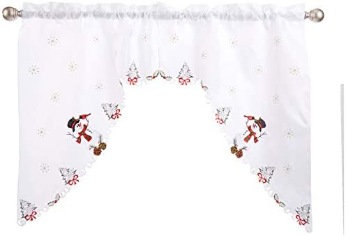 LORRAINE HOME FASHIONS Snowmen, Window Curtain Swag, 58 x 36 , Multi