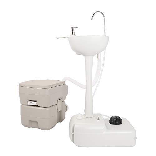 Outdoor Wash Basin Sink,Upgraded Garden Camping Sink Hand Washing Basin Sanitary Ware Hand Sink Removable Rolling Wash Station with Portable Toilet,Towel Holder & Soap Dispenser for Camping/Boating/RV