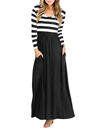 (Vabecid Casual Women Long Sleeve Striped Patchwork Tunic Vintage Maxi Dress with Pockets Belt (XL,)