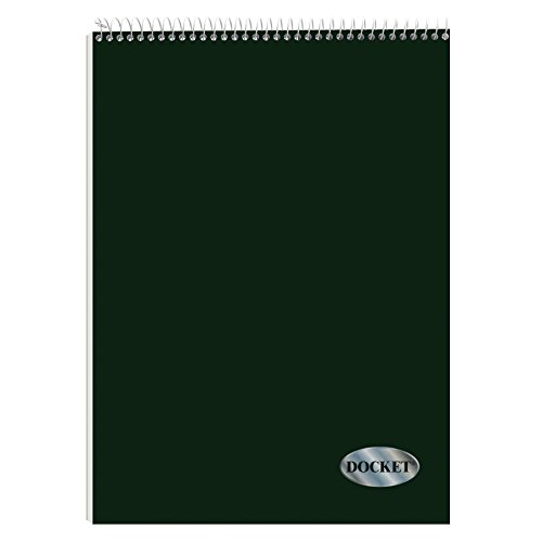 TOPS Docket Quadrille Pad, Wire Bound, 8-1/2 x 11-3/4 Inches, Quad Rule (4 x 4 front, 5 x 5 back), White Paper, Dark Green Covers, 70 Sheets per Pad (99616)