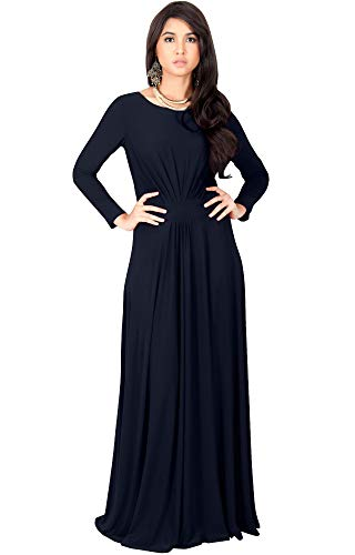 KOH KOH Plus Size Womens Long Full Sleeve Sleeves Flowy Empire Waist Fall Winter Modest Formal Floor Length Abaya Muslim Gown Gowns Maxi Dress Dresses, Dark Navy Blue 3XL 22-24