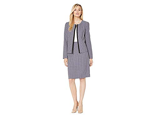 (Le Suit Women's Jewel Neck Fly Away Plaid Tweed Skirt Suit, Bright Navy Multi, 10)