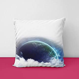 Digital Earth Square Design Printed Cushion Cover