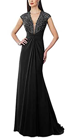 Jonlyc Cap Sleeve Embroidered Beaded Mother of The Bride Dress Long Formal Evening Gown Black 18W