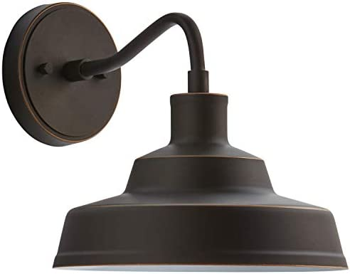 Stone Beam WL-2424AB Stone Beam Industrial Farmhouse Barn Outdoor Wall Sconce with Light Bulb – 10 x 12.72 x 9.72 Inches, Antique Bronze