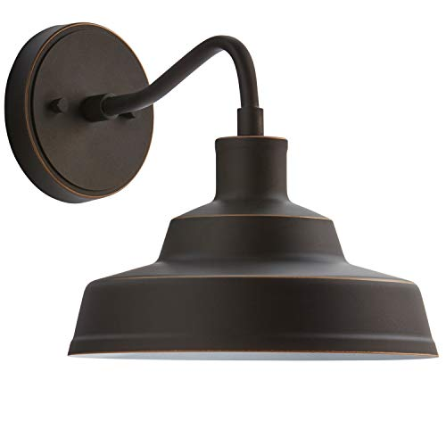 Stone & Beam Industrial Farmhouse Barn Outdoor Wall Sconce with Light Bulb - 10 x 12.72 x 9.72 Inches, Antique Bronze
