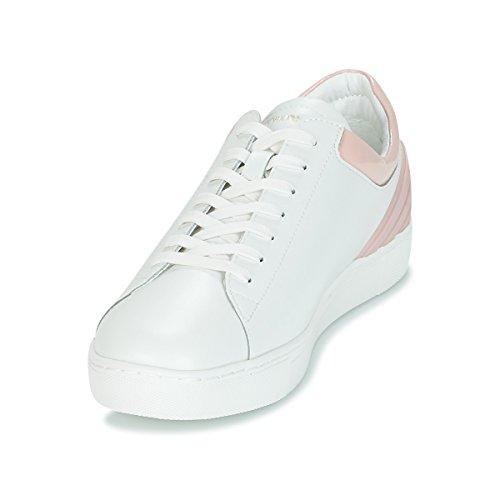 Armani Emporio Leather En Cuir Perforé Logo White Haut Blanc Formateurs ZwadPwO6q