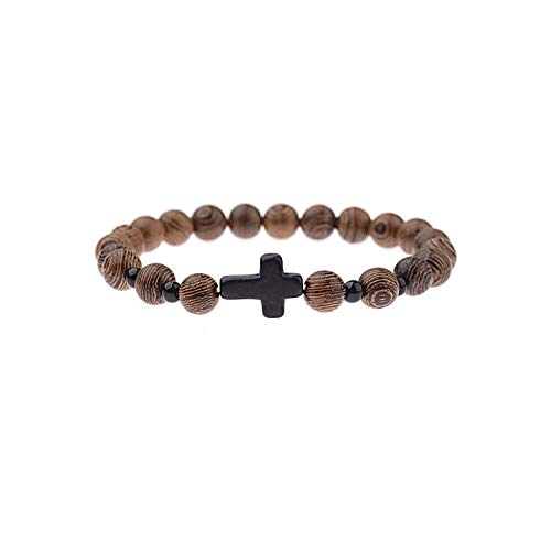 Bracelet Buddhist Prayer Metal Buddha Beaded Men 8Mm Wood Beads Charm Bangles Hombre,Abj028-1