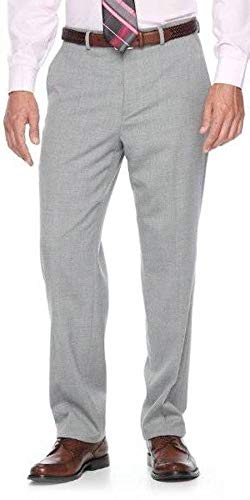 Chaps Mens Performance Series Classic Fit 4-Way Stretch Wool Blend Suit Pants- 42x30 Light Gray