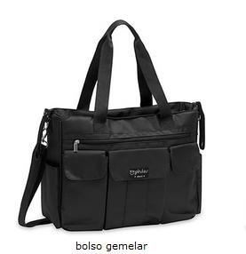 Pirulos Bolso Gemelar + Cambiador Bebé Portátil de Gran Tamaño con Materiales de Alta Calidad/bolso Carro Gemelar, Medidas 45x35x13cm Color Negro: ...