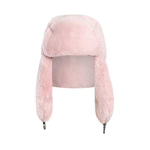Crytech Unisex Faux Fur Russian Trooper Hat, Winter Warm Ushanka Snow Skiing Hat with Earflap Ear Warmer Plush Furry Cap Elmer Fudd Trapper Hat Ear Flap for Women Lady Men Outdoor Hunting (Hot Pink)
