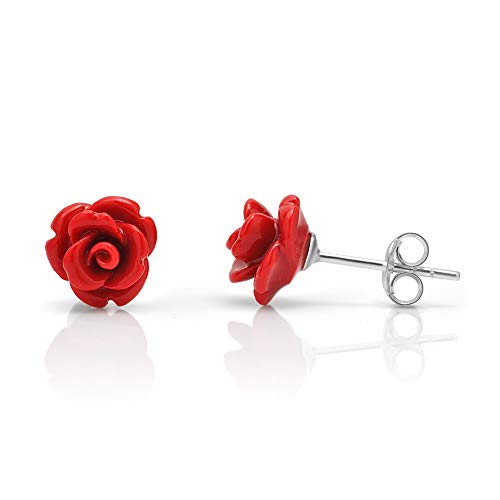 (925 Sterling Silver Tiny Red Rose Flower 9 mm Post Stud Earrings)