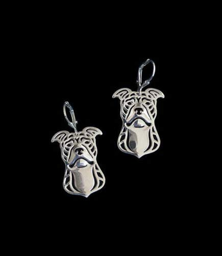 syarief_tre Pit Bull Silver Earrings Animal Dog Canine Gifts
