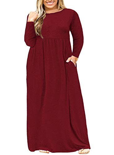 Nemidor Women Long Sleeve Loose Plain Casual Plus Size Long Maxi Dress with Pockets (Wine+Sleeve, 18W) (Cheap Halloween Costumes For Women Plus Size)
