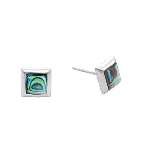 Silverly Women's .925 Sterling Silver Paua Abalone Shell Square 7 mm Studs ()