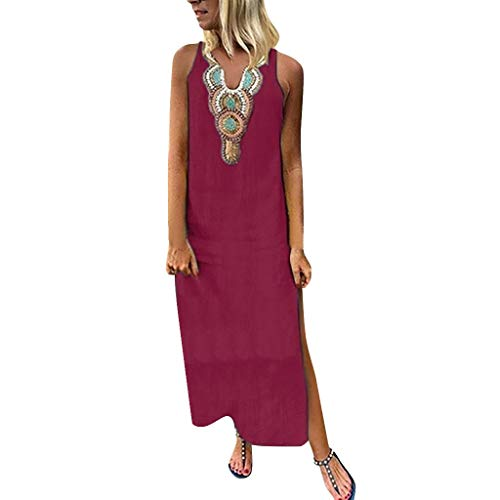 PENGYGY Woman Printed Sleeveless Skirt Casual V-Neck Maxi Dress Ladies Split Hem Baggy Long Dress