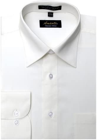 Amanti Off White Colored Men's Dress Shirt Classic Style Long Sleeve 16.5-36/37