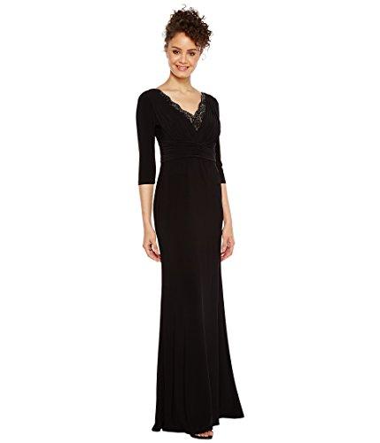 [アドリアナパペル] Adrianna Papell レディース Shirred Jersey Gown with Beaded Neck ドレス Black 2 [並行輸入品]
