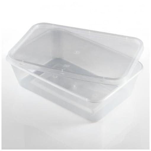 Salida-Thali-250-x-Rectangular-500-ml-apta-para-microondas-de-plstico-transparente-fiambreras-congelacin-tomar-alimentos-fros-calientes