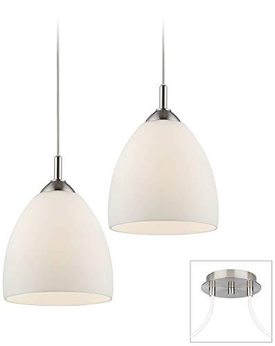 Opal Glass Brushed Nickel Double Multi Light Pendant - Possini Euro Design (Double Glass Light Pendant)