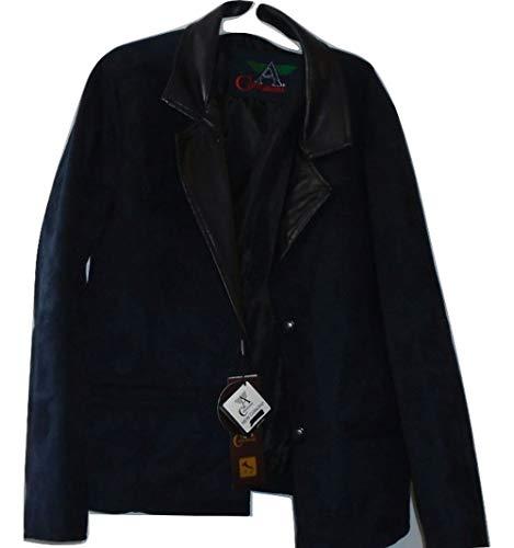 Armani Collezioni Blue Suede Jacket Womens Suit Jacket, Med