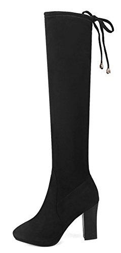 Aisun Damen Sexy Overknee Plateau Spitz Zehen Blockabsatz High Heels Langschaft Stiefel mit Reißverschluss Schwarz