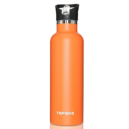 TOPOKO 25 OZ Double Wall Water Bottle Straw Lid with Handle, Vacuum Insulated Stainless Steel Bottle, Sweat Proof, Leak Proof Thermos Standard Mouth, Vacuum Seal Cap Mug (Bright Orange)