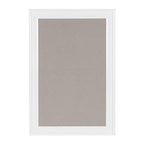 Fabric Pin Boards - DesignOvation Bosc Framed Gray Linen Fabric Pinboard, 18.5x27.5, White