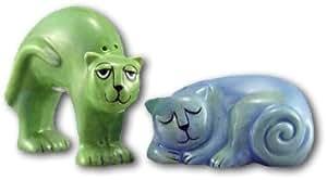 Ursula Dodge Blue & Green Cat Salt & Pepper Shakers