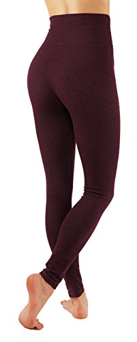 Pro Fit Women's High Waist Cotton Yoga Pants Workout Leggings (L/X-L Burgundy-lhw010) by Pro Fit (Image #2)