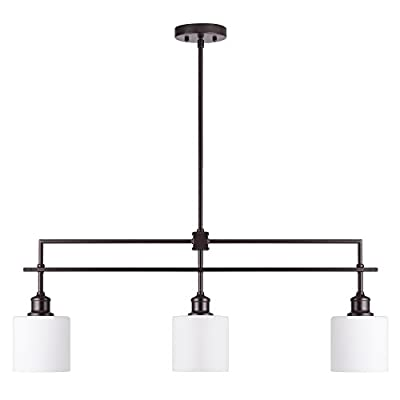 CO-Z Oil Rubbed Bronze Kitchen Island Lighting, 3-Light Linear Pendant Island Chandelier for Billiard Pool Table Dining Room Counter Foyer, Modern Hanging Ceiling Light Fixture with Opal Glass Shade
