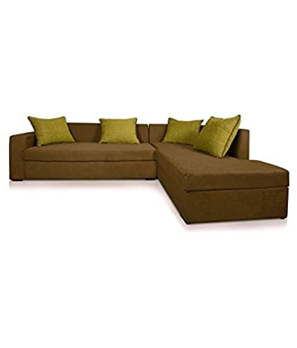 Three+ Brown Sal Wood 5 Seater L-Shaped Sofa Set for Living Room